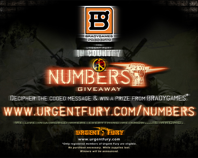 """BradyGames presents…The Urgent Fury: In Country """"NUMBERS"""" Giveaway!!!"""
